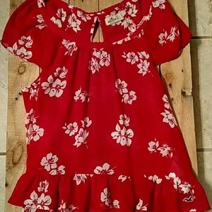 Hollister Red cap sleeve flowy blouse in EUC